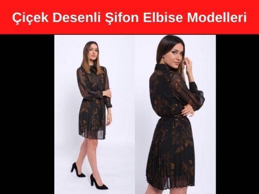 İhracata Uygun Hemen Teslim Çiçek Desenli Şifon Elbise Modelleri